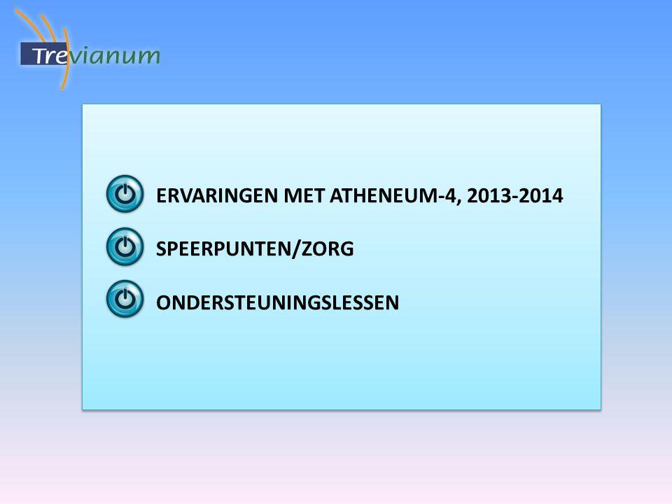 ERVARINGEN MET ATHENEUM-4, 2013-2014 SPEERPUNTEN/ZORG ONDERSTEUNINGSLESSEN ERVARINGEN MET ATHENEUM-4, 2013-2014 SPEERPUNTEN/ZORG ONDERSTEUNINGSLESSEN