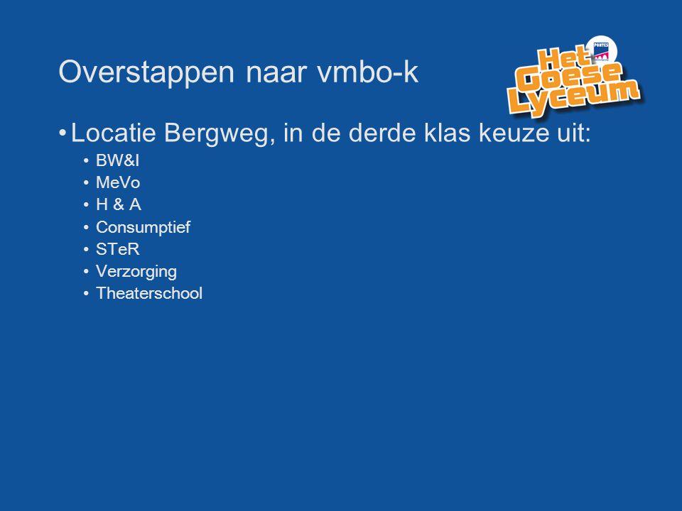 Overstappen naar vmbo-k Locatie Bergweg, in de derde klas keuze uit: BW&I MeVo H & A Consumptief STeR Verzorging Theaterschool