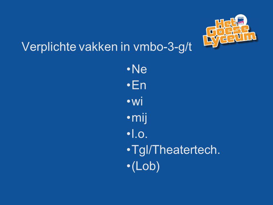 Verplichte vakken in vmbo-3-g/t Ne En wi mij l.o. Tgl/Theatertech. (Lob)