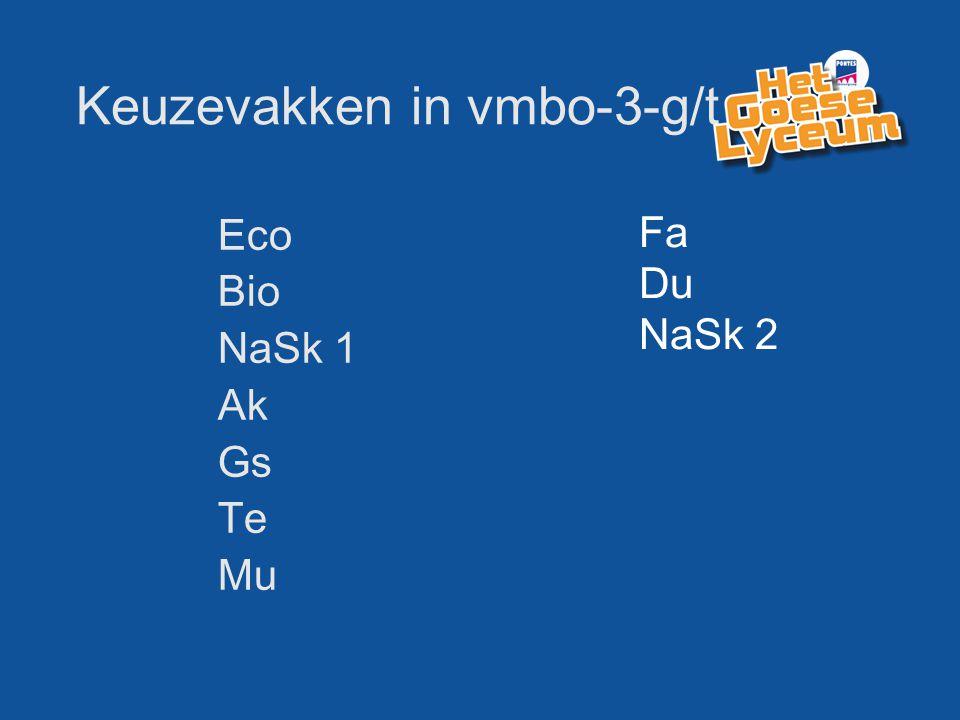 Keuzevakken in vmbo-3-g/t Eco Bio NaSk 1 Ak Gs Te Mu Fa Du NaSk 2