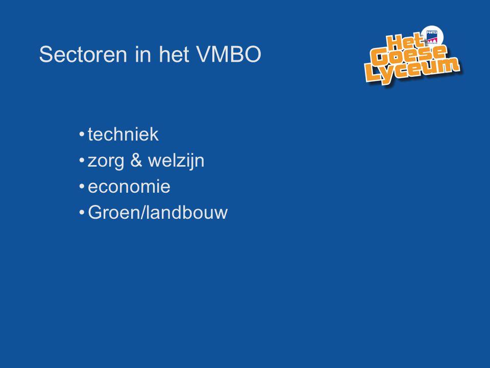 Sectoren in het VMBO techniek zorg & welzijn economie Groen/landbouw