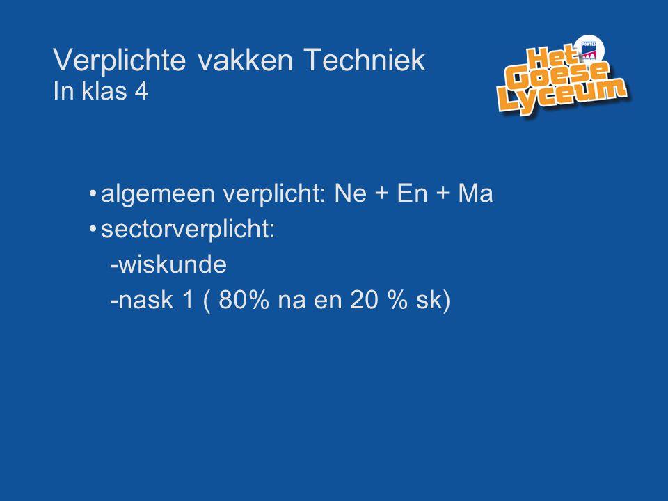 Verplichte vakken Techniek In klas 4 algemeen verplicht: Ne + En + Ma sectorverplicht: -wiskunde -nask 1 ( 80% na en 20 % sk)