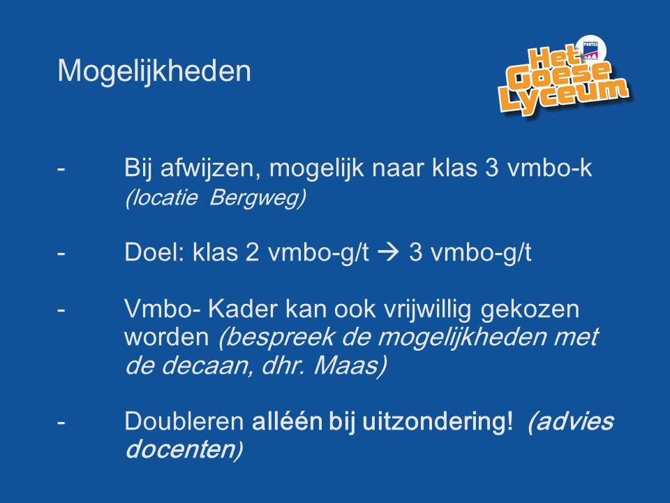 Mogelijkheden - Bij afwijzen, mogelijk naar klas 3 vmbo-k (locatie Bergweg) - Doel: klas 2 vmbo-g/t  3 vmbo-g/t -Vmbo- Kader kan ook vrijwillig gekozen worden (bespreek de mogelijkheden met de decaan, dhr.