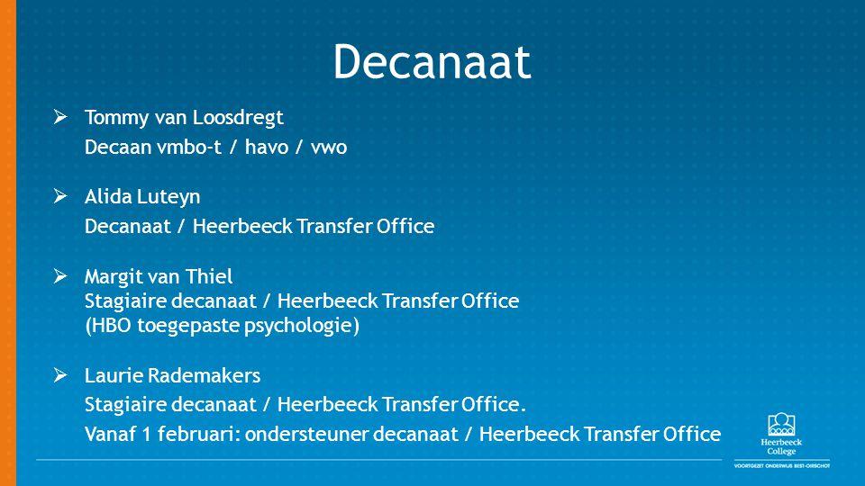 Decanaat  Tommy van Loosdregt Decaan vmbo-t / havo / vwo  Alida Luteyn Decanaat / Heerbeeck Transfer Office  Margit van Thiel Stagiaire decanaat /