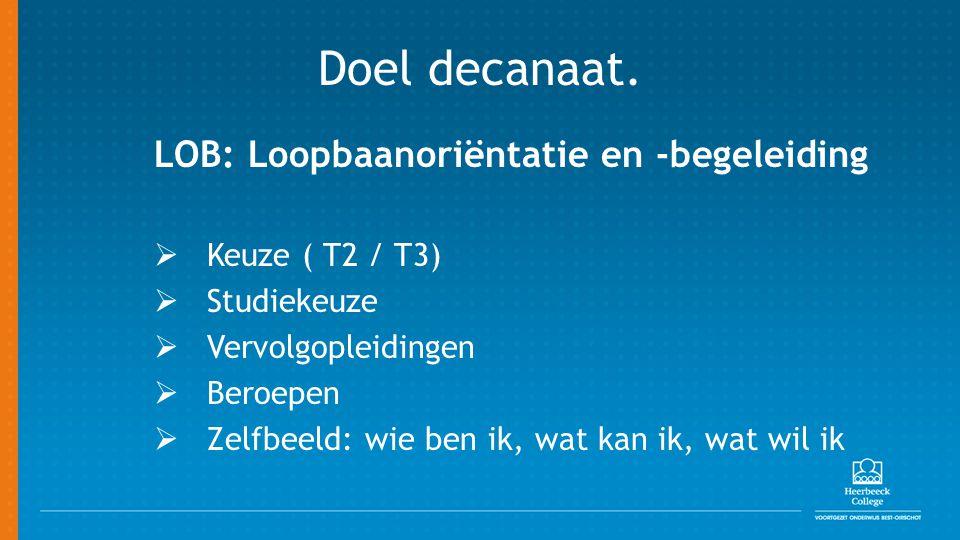 Doel decanaat. LOB: Loopbaanoriëntatie en -begeleiding  Keuze ( T2 / T3)  Studiekeuze  Vervolgopleidingen  Beroepen  Zelfbeeld: wie ben ik, wat k