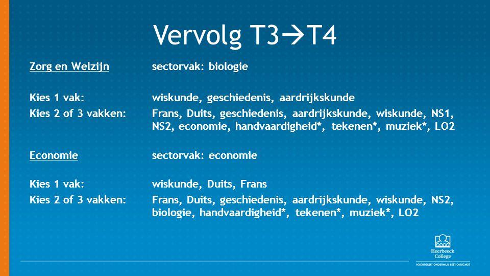 Vervolg T3  T4 Zorg en Welzijnsectorvak: biologie Kies 1 vak: wiskunde, geschiedenis, aardrijkskunde Kies 2 of 3 vakken: Frans, Duits, geschiedenis, aardrijkskunde, wiskunde, NS1, NS2, economie, handvaardigheid*, tekenen*, muziek*, LO2 Economie sectorvak: economie Kies 1 vak: wiskunde, Duits, Frans Kies 2 of 3 vakken: Frans, Duits, geschiedenis, aardrijkskunde, wiskunde, NS2, biologie, handvaardigheid*, tekenen*, muziek*, LO2