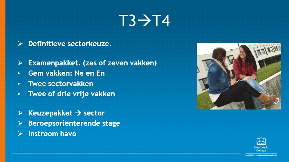 T3  T4  Definitieve sectorkeuze.  Examenpakket. (zes of zeven vakken) Gem vakken: Ne en En Twee sectorvakken Twee of drie vrije vakken  Keuzepakke