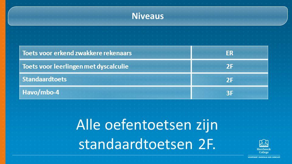 Niveaus Toets voor erkend zwakkere rekenaarsER Toets voor leerlingen met dyscalculie2F Standaardtoets 2F Havo/mbo-4 3F Alle oefentoetsen zijn standaardtoetsen 2F.