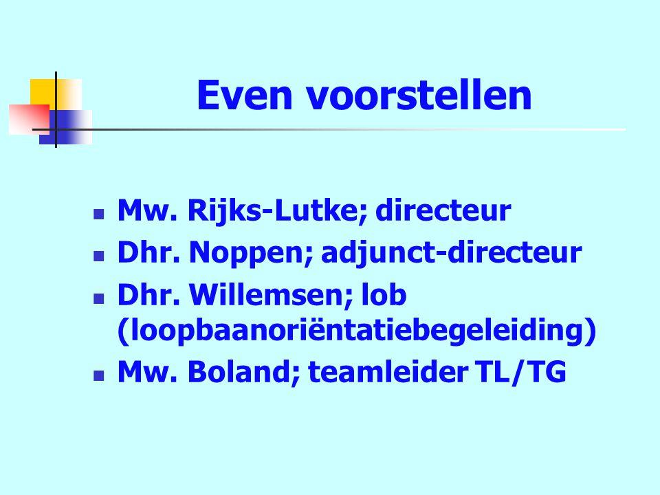 Even voorstellen Mw. Rijks-Lutke; directeur Dhr. Noppen; adjunct-directeur Dhr.