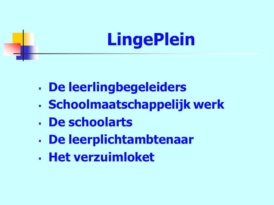 LingePlein  De leerlingbegeleiders  Schoolmaatschappelijk werk  De schoolarts  De leerplichtambtenaar  Het verzuimloket
