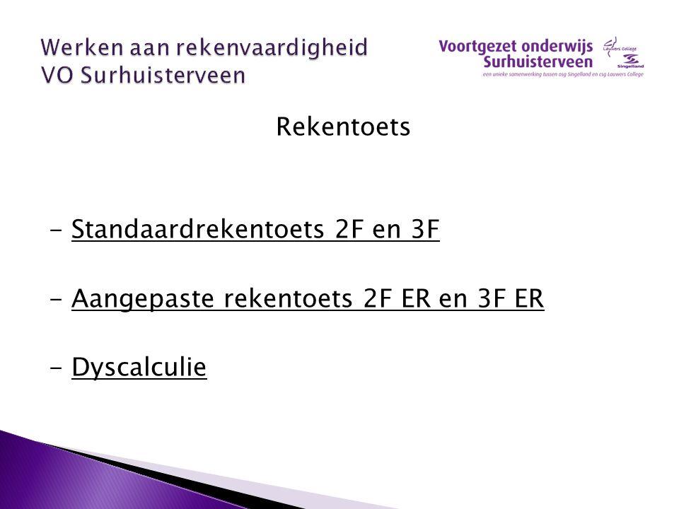 Rekentoets - Standaardrekentoets 2F en 3F - Aangepaste rekentoets 2F ER en 3F ER - Dyscalculie