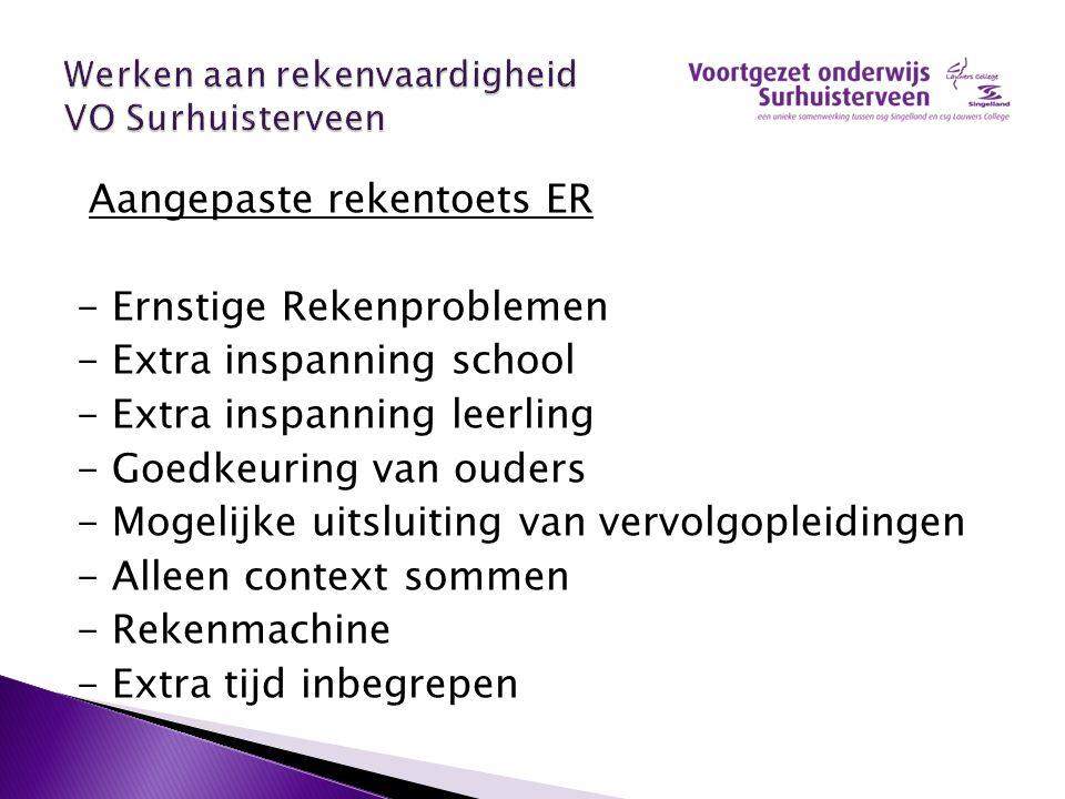Aangepaste rekentoets ER - Ernstige Rekenproblemen - Extra inspanning school - Extra inspanning leerling - Goedkeuring van ouders - Mogelijke uitsluit