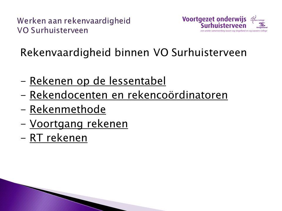 Rekenvaardigheid binnen VO Surhuisterveen - Rekenen op de lessentabel - Rekendocenten en rekencoördinatoren - Rekenmethode - Voortgang rekenen - RT re