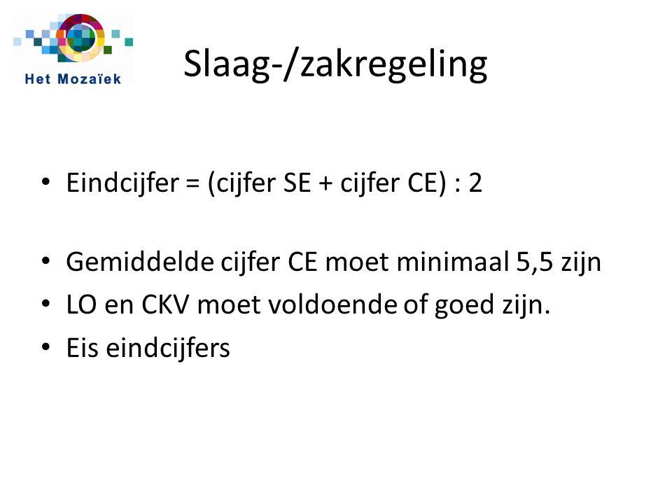 Slaag-/zakregeling Eindcijfer = (cijfer SE + cijfer CE) : 2 Gemiddelde cijfer CE moet minimaal 5,5 zijn LO en CKV moet voldoende of goed zijn.