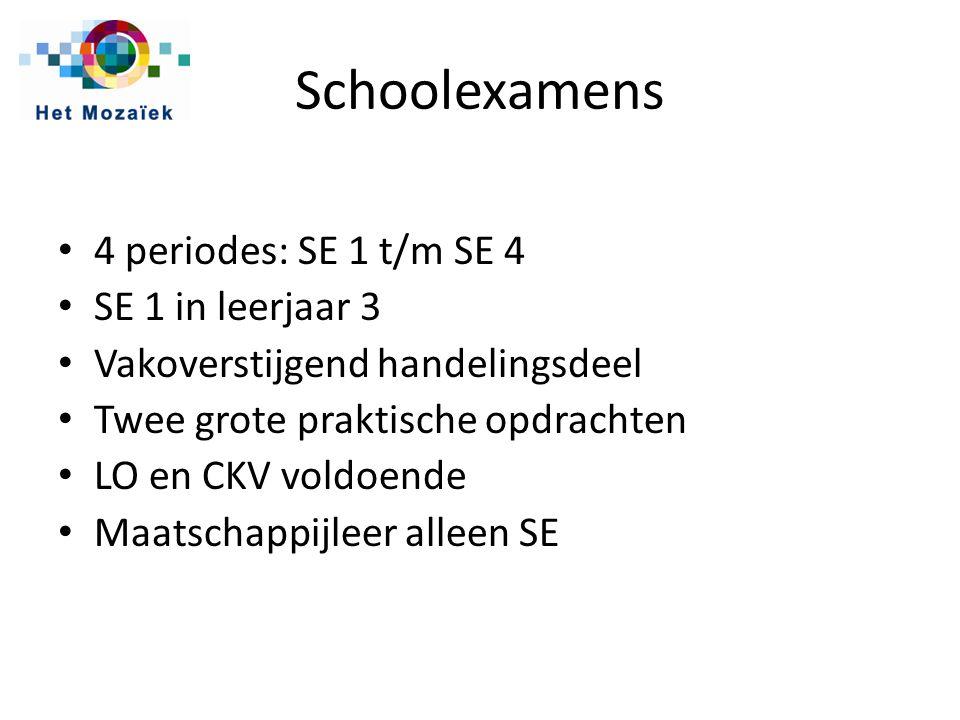 Schoolexamens 4 periodes: SE 1 t/m SE 4 SE 1 in leerjaar 3 Vakoverstijgend handelingsdeel Twee grote praktische opdrachten LO en CKV voldoende Maatschappijleer alleen SE