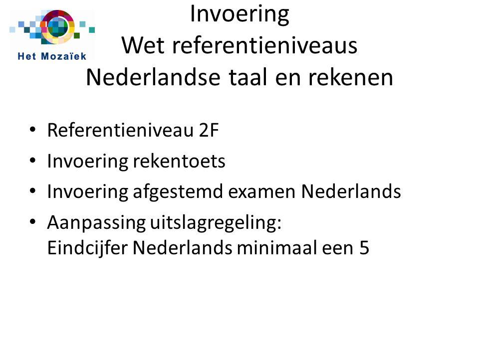 Invoering Wet referentieniveaus Nederlandse taal en rekenen Referentieniveau 2F Invoering rekentoets Invoering afgestemd examen Nederlands Aanpassing uitslagregeling: Eindcijfer Nederlands minimaal een 5