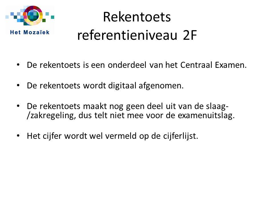 Rekentoets referentieniveau 2F De rekentoets is een onderdeel van het Centraal Examen.