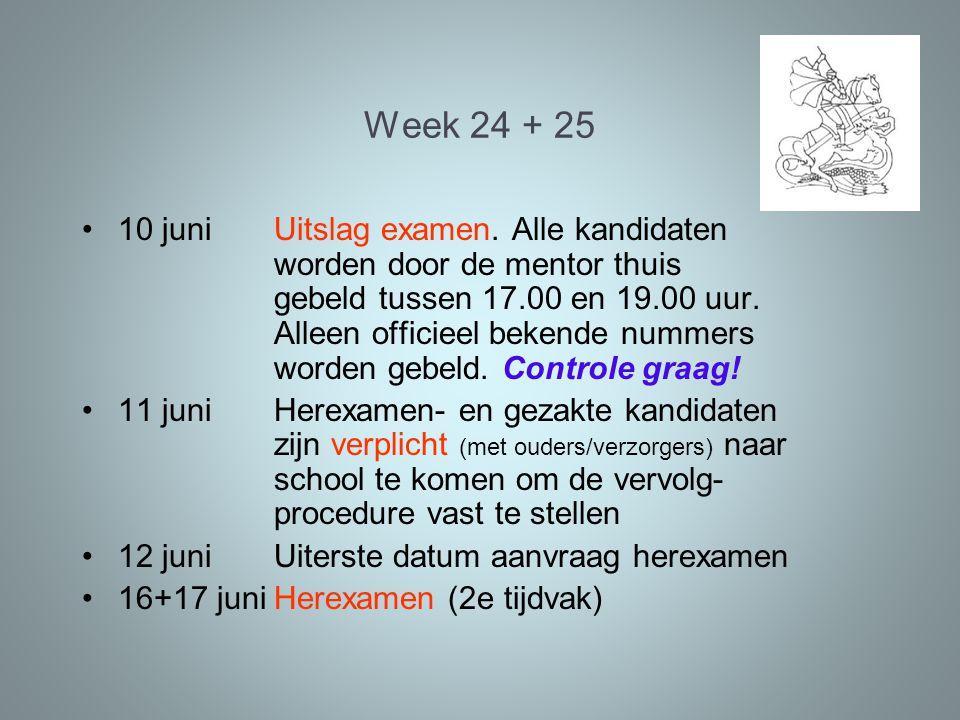 Week 24 + 25 10 juniUitslag examen. Alle kandidaten worden door de mentor thuis gebeld tussen 17.00 en 19.00 uur. Alleen officieel bekende nummers wor