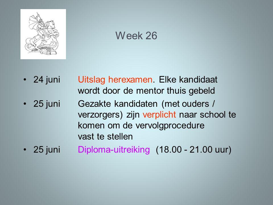 Week 26 24 juniUitslag herexamen. Elke kandidaat wordt door de mentor thuis gebeld 25 juniGezakte kandidaten (met ouders / verzorgers) zijn verplicht