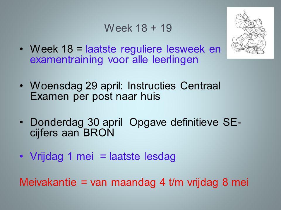 Week 18 + 19 Week 18 = laatste reguliere lesweek en examentraining voor alle leerlingen Woensdag 29 april: Instructies Centraal Examen per post naar h