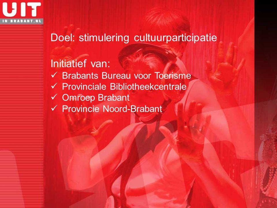 Doel: stimulering cultuurparticipatie Initiatief van: Brabants Bureau voor Toerisme Provinciale Bibliotheekcentrale Omroep Brabant Provincie Noord-Bra