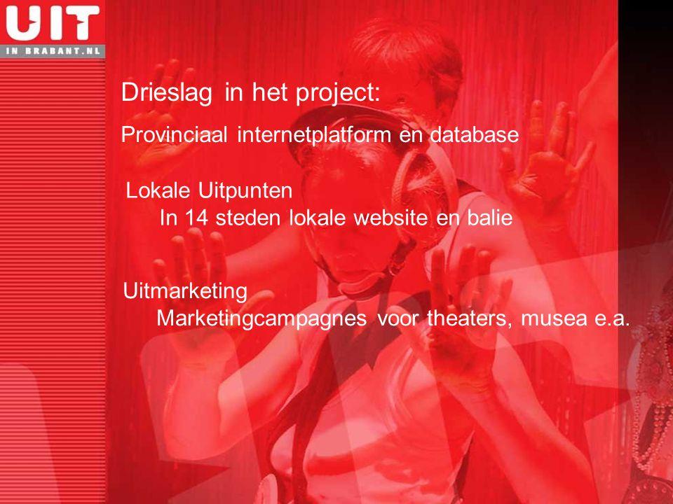 Nieuw publiek: Niet & laag participanten Inwoners van en bezoekers aan Brabant Brabantse organisaties: Amateur tot professioneel Cultureel én recreatief Doelgroepen