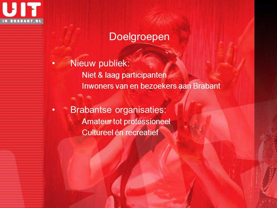 Nieuw publiek: Niet & laag participanten Inwoners van en bezoekers aan Brabant Brabantse organisaties: Amateur tot professioneel Cultureel én recreati