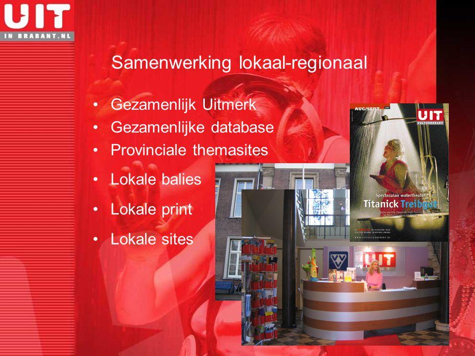 Samenwerking lokaal-regionaal Gezamenlijk Uitmerk Gezamenlijke database Provinciale themasites Lokale balies Lokale sites Lokale print