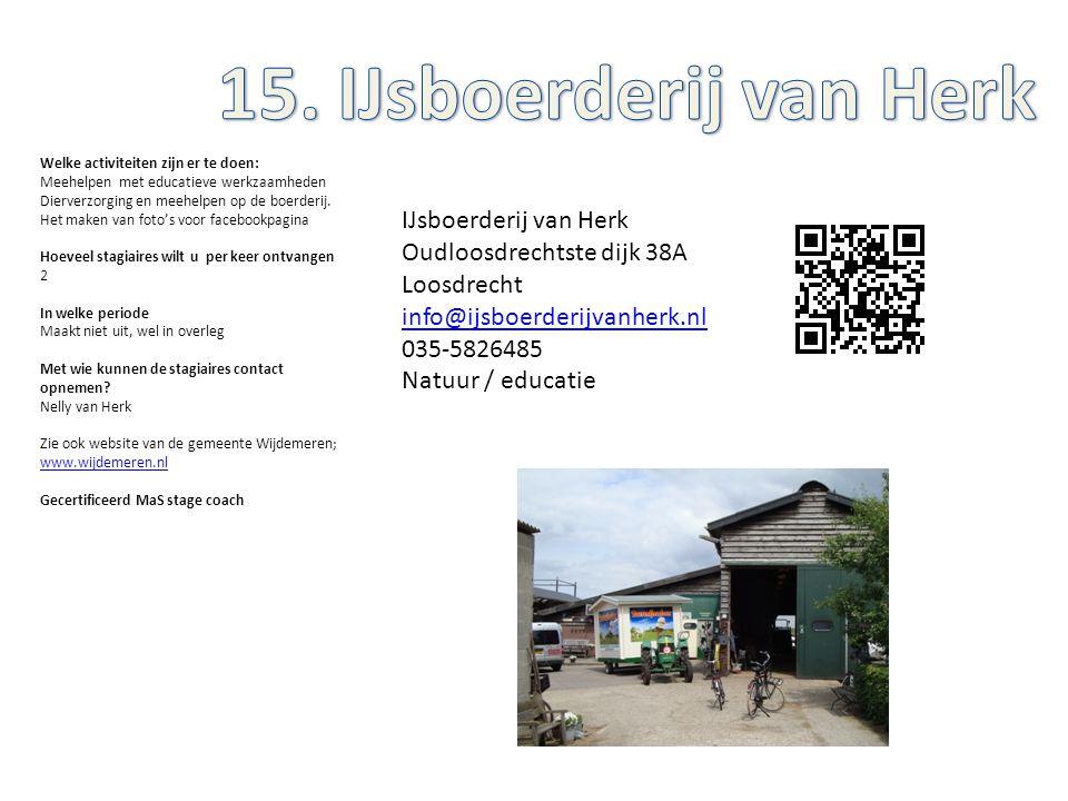 IJsboerderij van Herk Oudloosdrechtste dijk 38A Loosdrecht info@ijsboerderijvanherk.nl 035-5826485 Natuur / educatie Welke activiteiten zijn er te doe