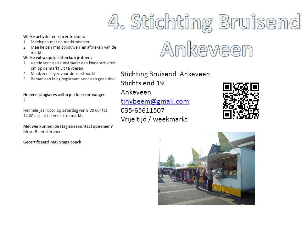 Stichting Bruisend Ankeveen Stichts end 19 Ankeveen tinybeem@gmail.com 035-65611507 Vrije tijd / weekmarkt Welke activiteiten zijn er te doen: 1.Meelo