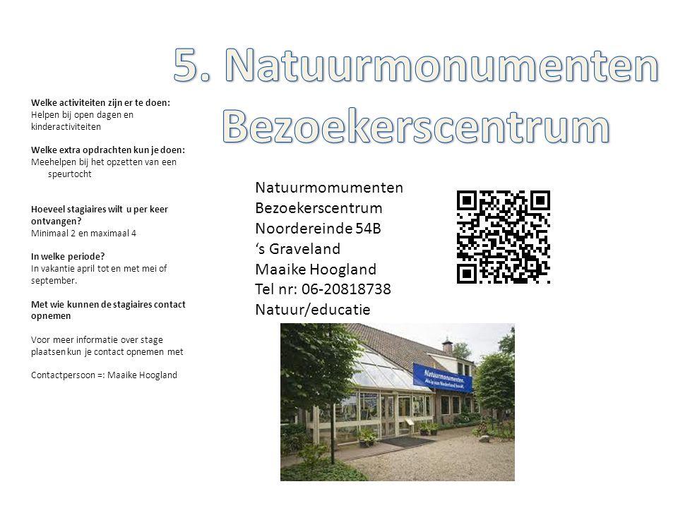 Natuurmomumenten Bezoekerscentrum Noordereinde 54B 's Graveland Maaike Hoogland Tel nr: 06-20818738 Natuur/educatie Welke activiteiten zijn er te doen