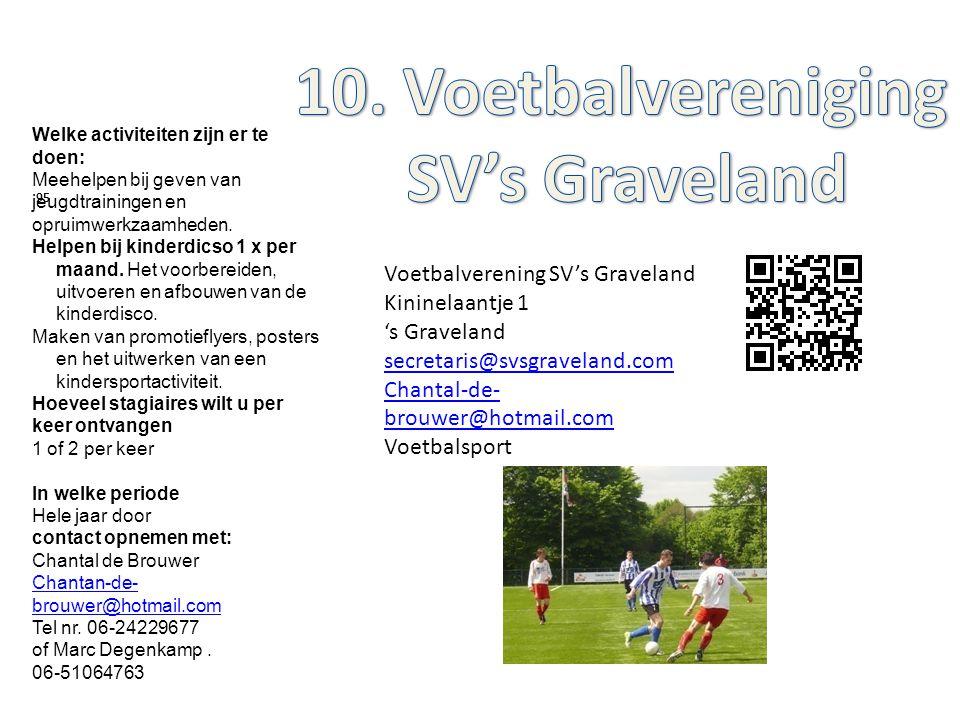 Voetbalverening SV's Graveland Kininelaantje 1 's Graveland secretaris@svsgraveland.com Chantal-de- brouwer@hotmail.com Voetbalsport 95 Welke activite
