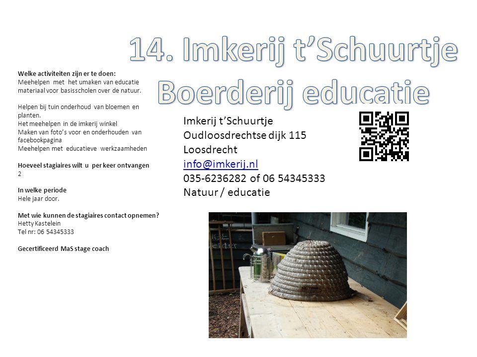 Imkerij t'Schuurtje Oudloosdrechtse dijk 115 Loosdrecht info@imkerij.nl 035-6236282 of 06 54345333 Natuur / educatie Welke activiteiten zijn er te doe