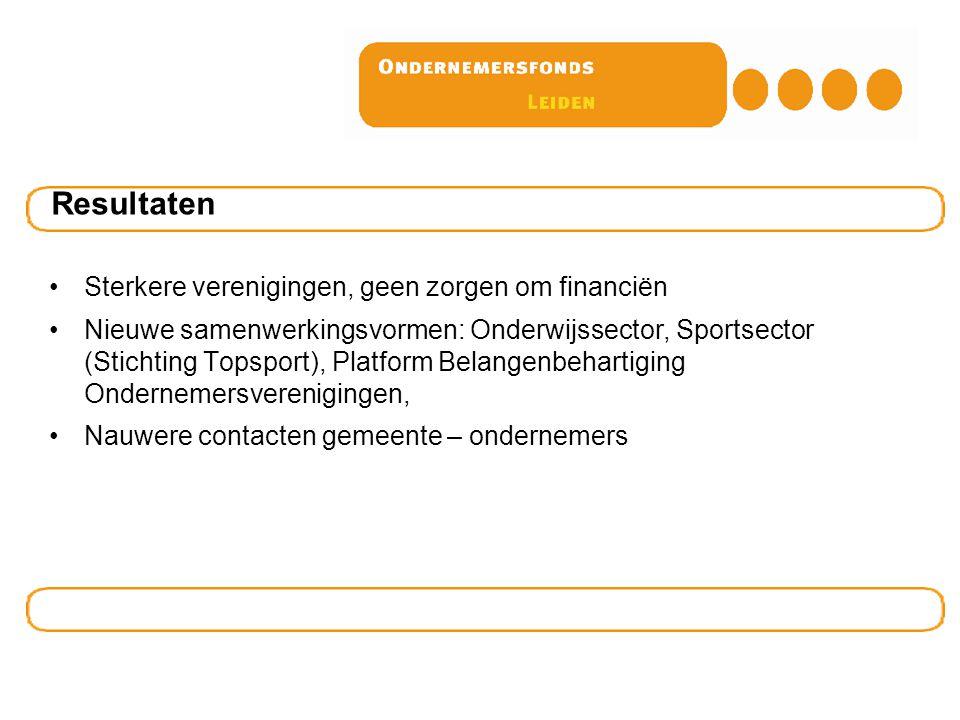 Sterkere verenigingen, geen zorgen om financiën Nieuwe samenwerkingsvormen: Onderwijssector, Sportsector (Stichting Topsport), Platform Belangenbehart