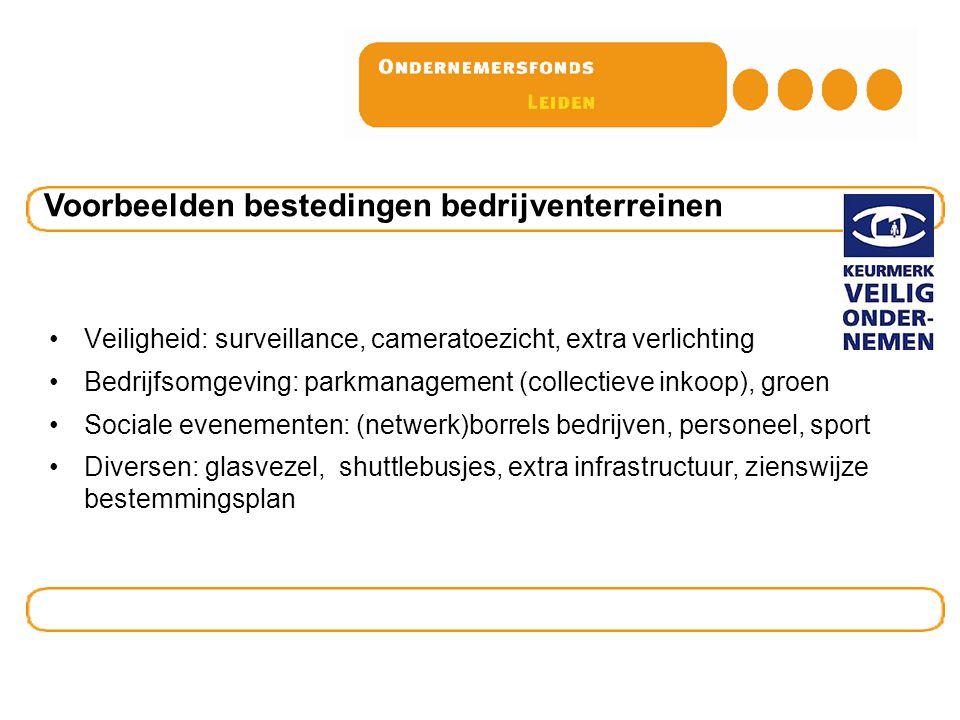 Veiligheid: surveillance, cameratoezicht, extra verlichting Bedrijfsomgeving: parkmanagement (collectieve inkoop), groen Sociale evenementen: (netwerk