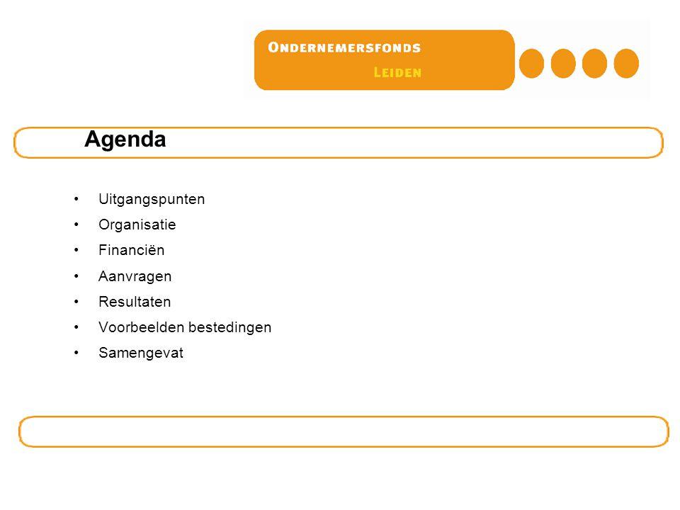 Uitgangspunten Organisatie Financiën Aanvragen Resultaten Voorbeelden bestedingen Samengevat Agenda