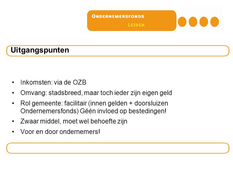 Inkomsten: via de OZB Omvang: stadsbreed, maar toch ieder zijn eigen geld Rol gemeente: facilitair (innen gelden + doorsluizen Ondernemersfonds) Géén