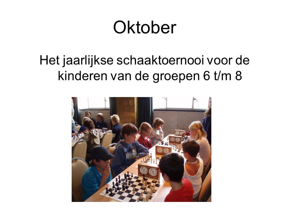 Oktober Het jaarlijkse schaaktoernooi voor de kinderen van de groepen 6 t/m 8