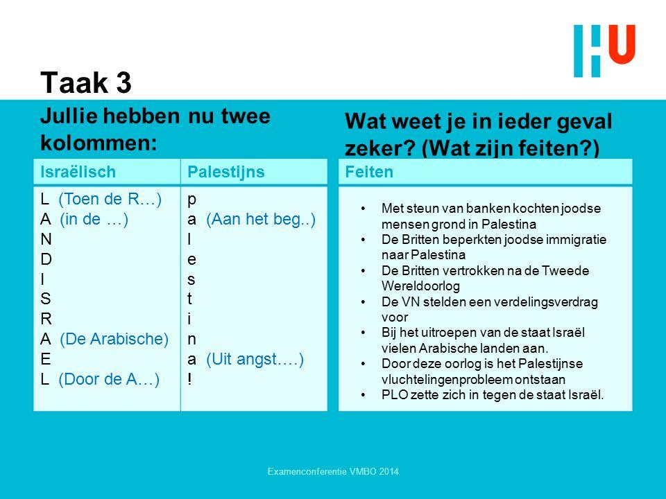 Taak 3 Jullie hebben nu twee kolommen: IsraëlischPalestijns L (Toen de R…) A (in de …) N D I S R A (De Arabische) E L (Door de A…) p a (Aan het beg..)