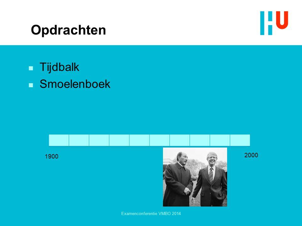 Opdrachten n Tijdbalk n Smoelenboek Examenconferentie VMBO 2014 1900 2000