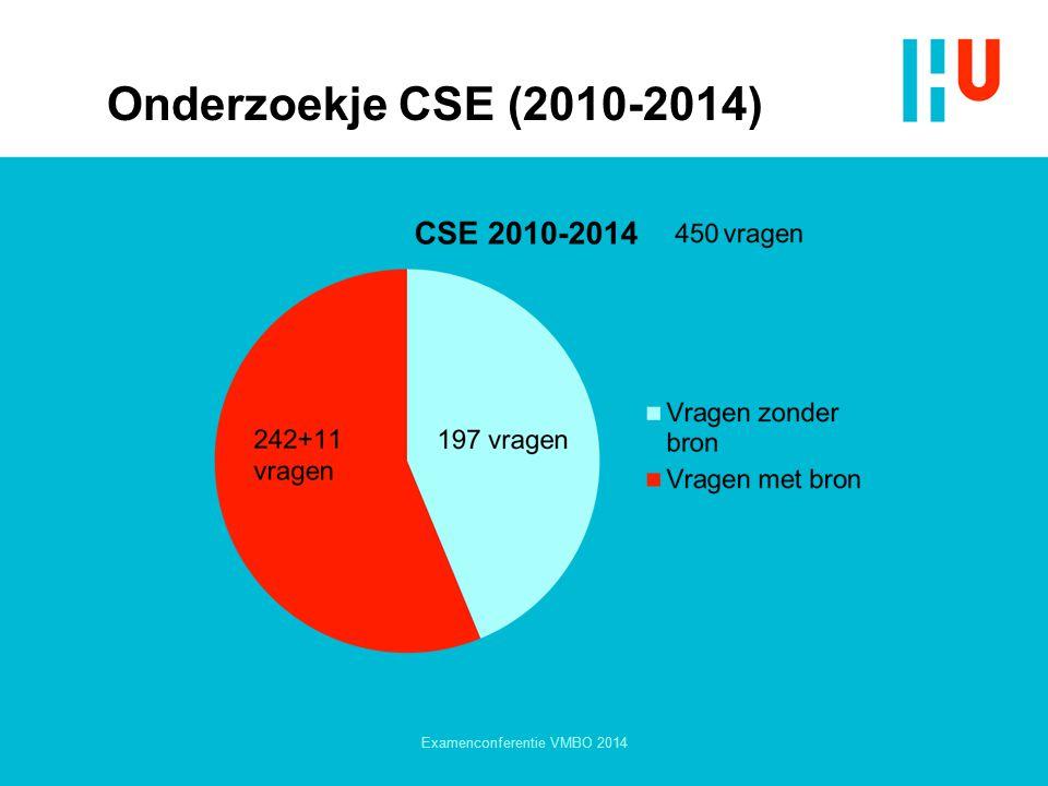 Onderzoekje CSE (2010-2014) Examenconferentie VMBO 2014