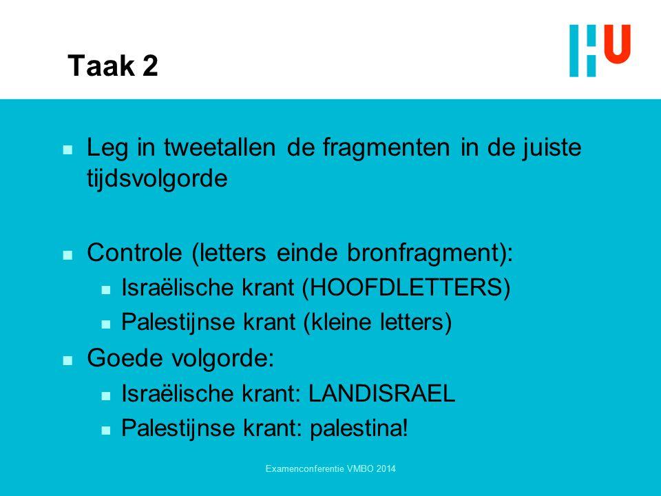 Taak 2 n Leg in tweetallen de fragmenten in de juiste tijdsvolgorde n Controle (letters einde bronfragment): n Israëlische krant (HOOFDLETTERS) n Pale