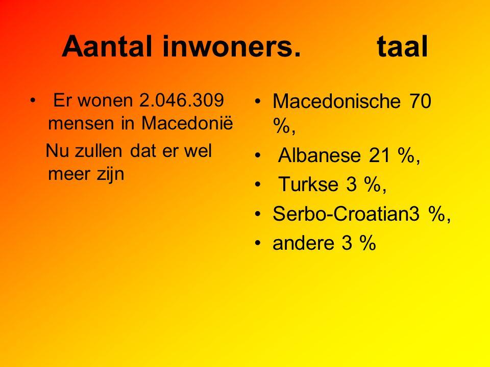 Aantal inwoners. taal Er wonen 2.046.309 mensen in Macedonië Nu zullen dat er wel meer zijn Macedonische 70 %, Albanese 21 %, Turkse 3 %, Serbo-Croati
