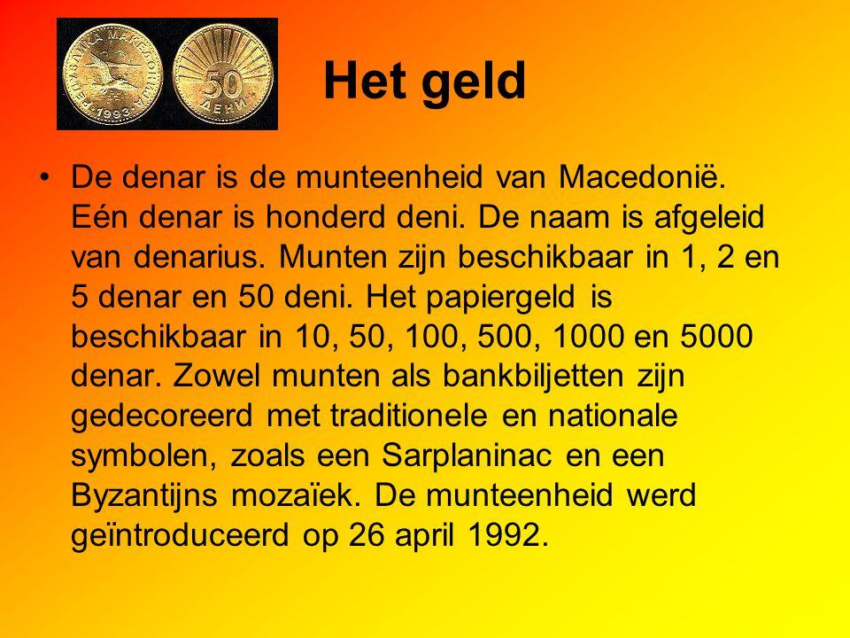 Het geld De denar is de munteenheid van Macedonië. Eén denar is honderd deni. De naam is afgeleid van denarius. Munten zijn beschikbaar in 1, 2 en 5 d