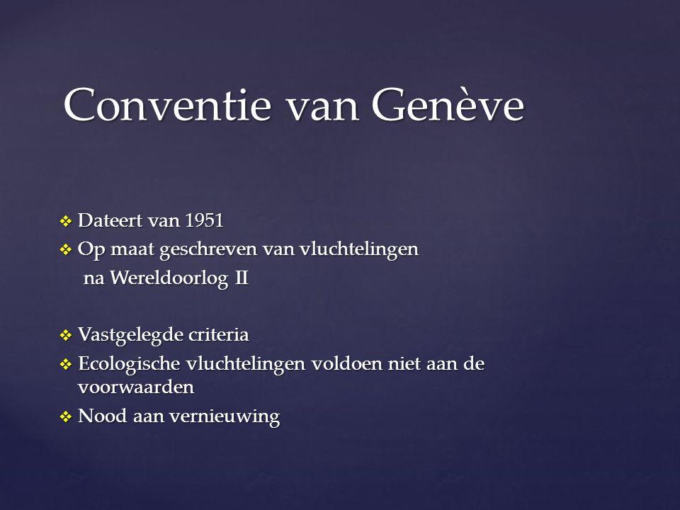  Dateert van 1951  Op maat geschreven van vluchtelingen na Wereldoorlog II na Wereldoorlog II  Vastgelegde criteria  Ecologische vluchtelingen voldoen niet aan de voorwaarden  Nood aan vernieuwing Conventie van Genève