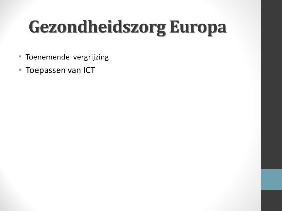 Gezondheidszorg Europa Toenemende vergrijzing Toepassen van ICT