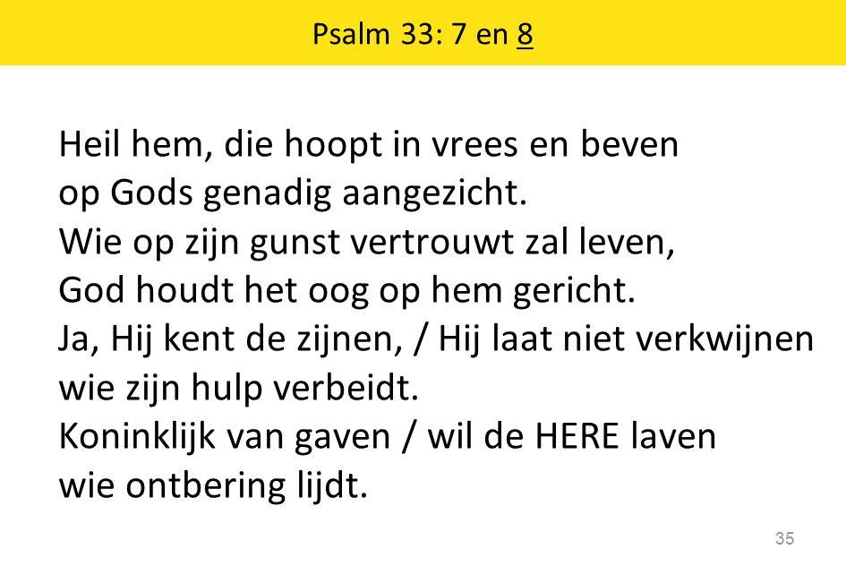 Heil hem, die hoopt in vrees en beven op Gods genadig aangezicht.