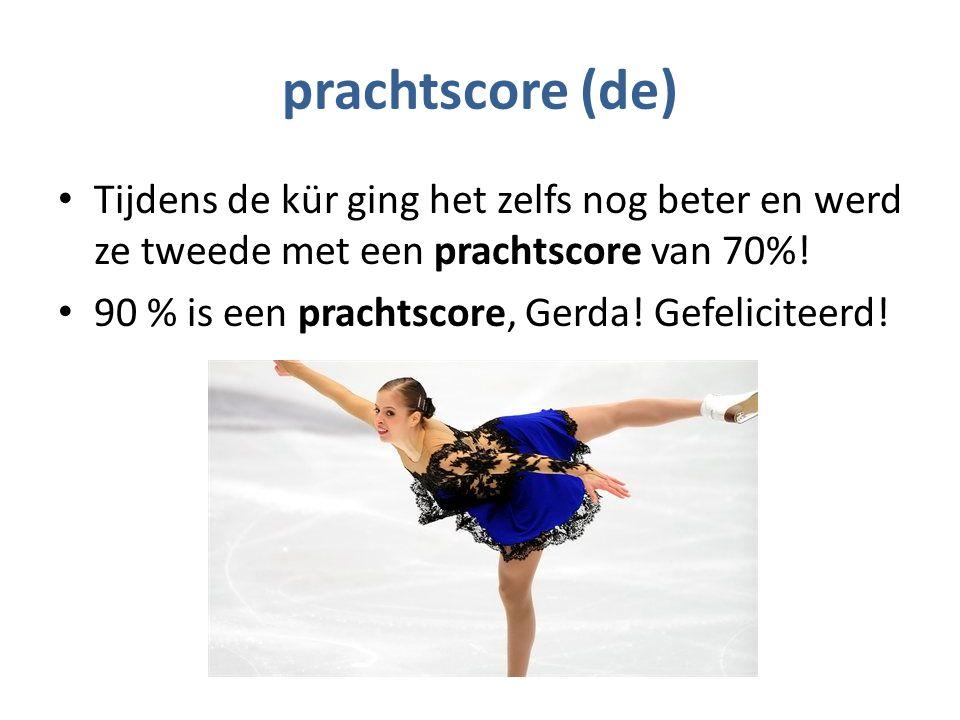 prachtscore (de) Tijdens de kür ging het zelfs nog beter en werd ze tweede met een prachtscore van 70%.