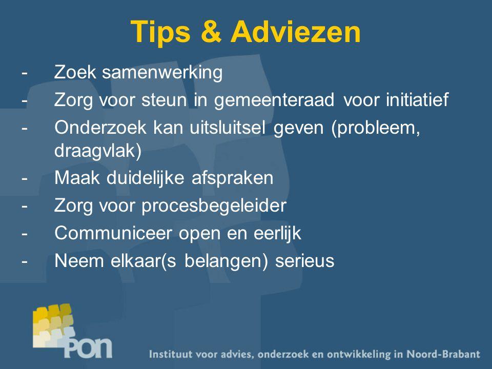 Tips & Adviezen -Zoek samenwerking -Zorg voor steun in gemeenteraad voor initiatief -Onderzoek kan uitsluitsel geven (probleem, draagvlak) -Maak duide