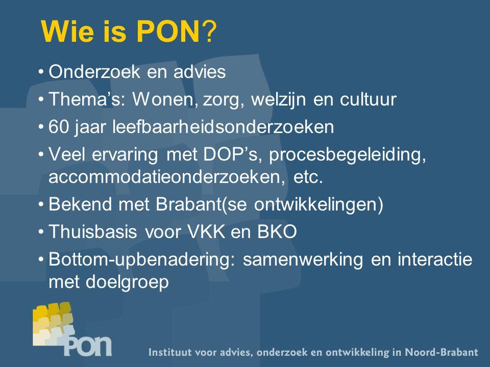 Wie is PON? Onderzoek en advies Thema's: Wonen, zorg, welzijn en cultuur 60 jaar leefbaarheidsonderzoeken Veel ervaring met DOP's, procesbegeleiding,